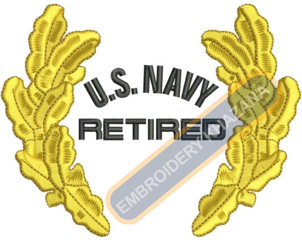 Us Navy retired embroidery design
