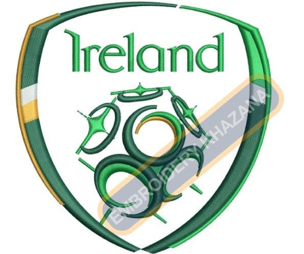 irish football team logo embroidery designs