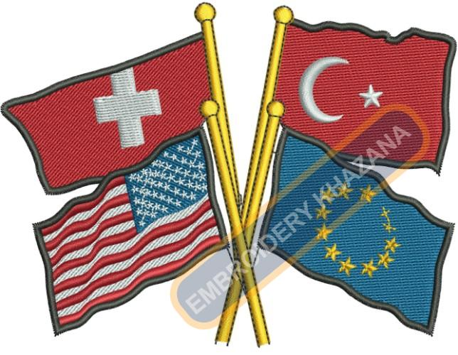 4 countries flag embroidery design