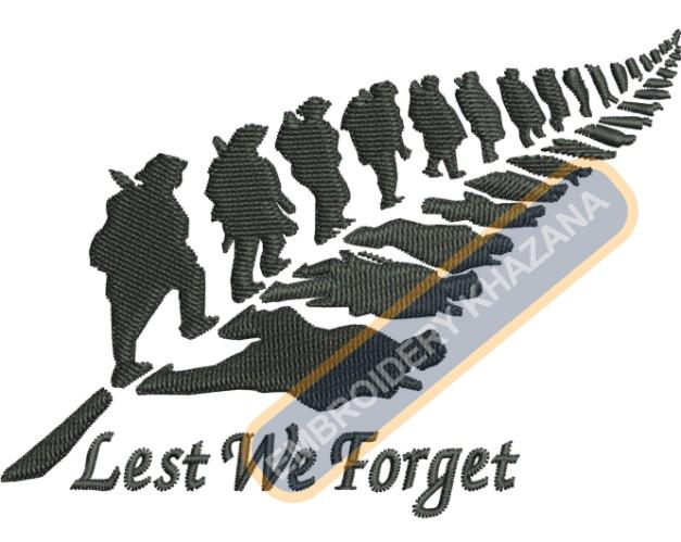 lest we forget army embroidery design