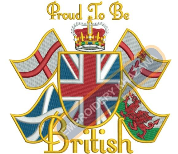 Proud To be British FLAG embroidery design