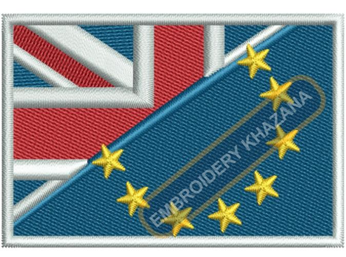 european union and uk flag embroidery design