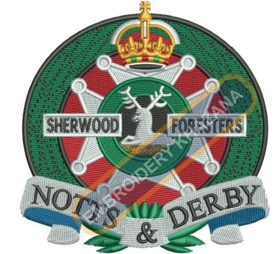 sherwood foresters notts and derby embroidery design