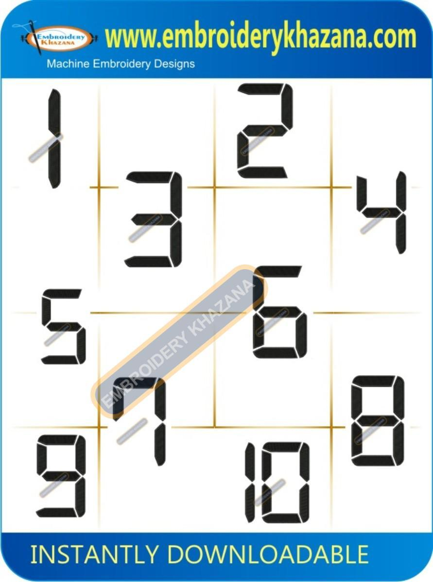 Digital Clock Number Embroidery Designs