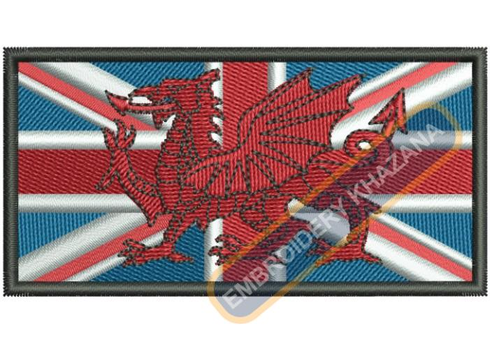 WALES FLAG UNION JACK EMBROIDERY DESIGN