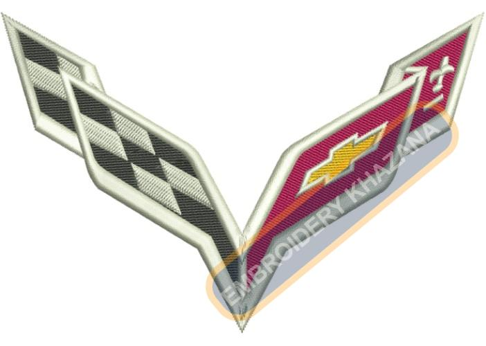 Corvette Flag embroidery design