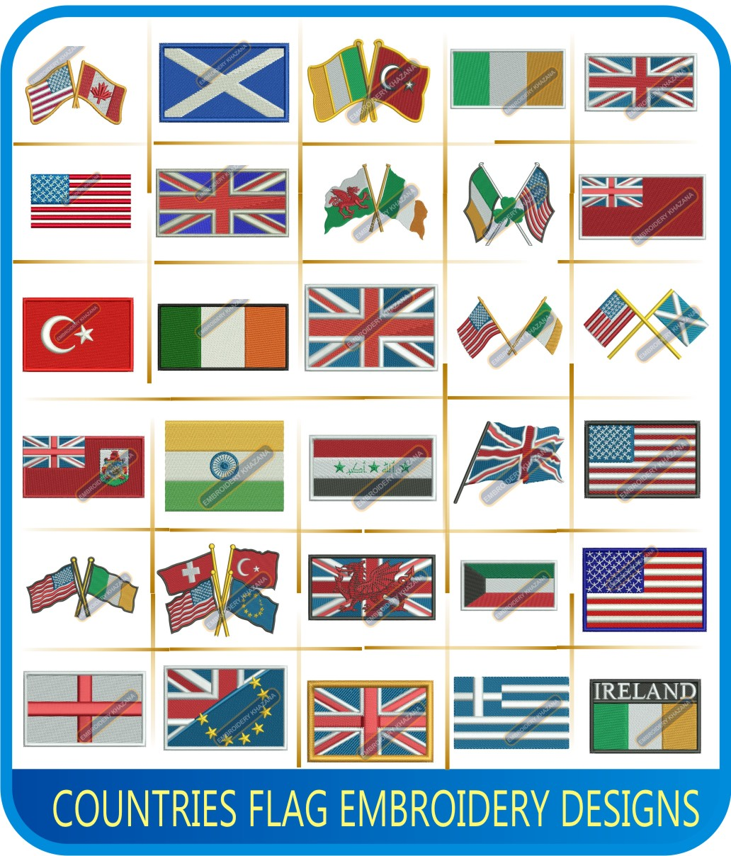 Countries Flag Embroidery Designs