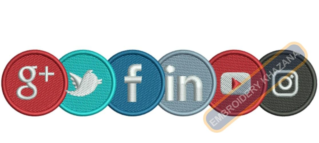 Social Media Icons Logo Embroidery Designs