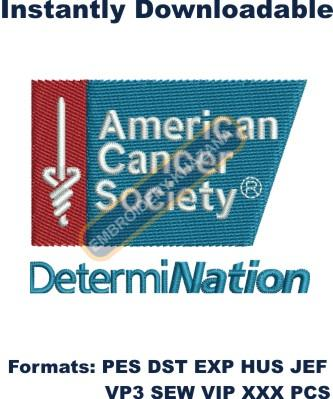 american cancer society logo embroidery design