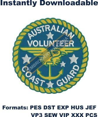 australian volunteer coast guard logo embroidery design
