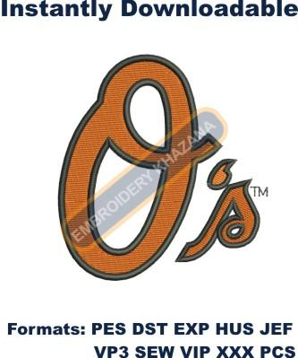 Baltimore Orioles Alternate Logo embroidery design