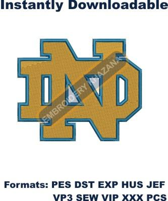 Notre Dame logo embroidery design