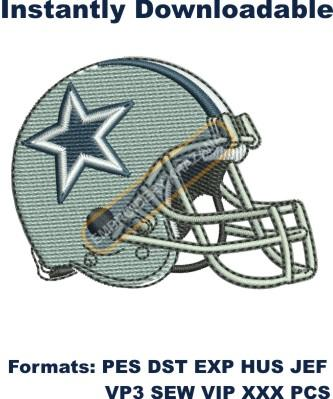 Dallas cowboys helmet logo embroidery design