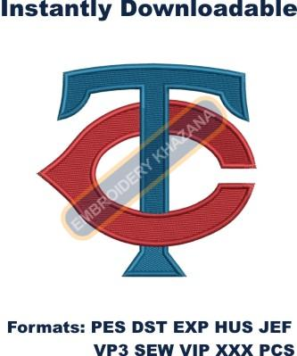 minnesota twins tc logo embroidery design