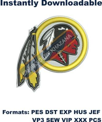 Washington Redskins logo embroidery design