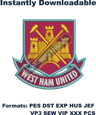 west ham united fc embroidery design