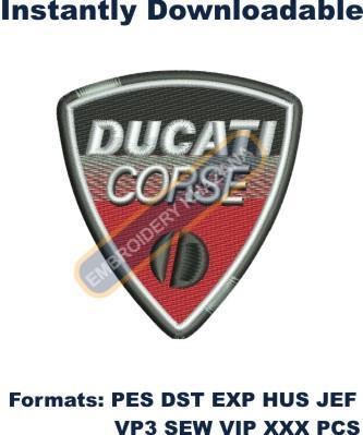Ducati Corse Logo Embroidery Designs | Ducati Corse Machine embroidery designs Online