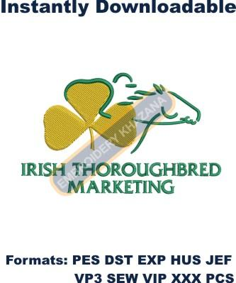 irish thoroughbred marketing embroidery design