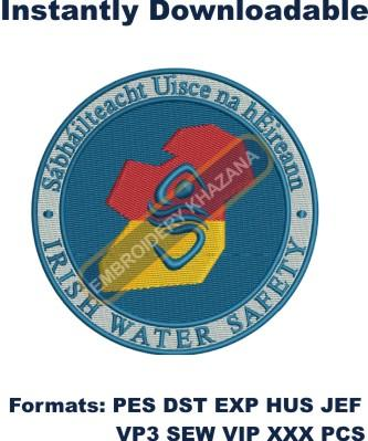 irish water safety embroidery designs
