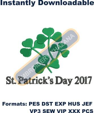 St Patrick Day logo embroidery design