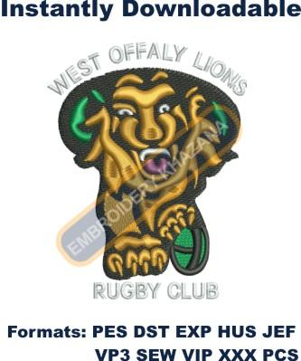west offaly lions rugby club embroidery design