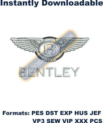 BENTLEY CAR BRAND LOGO embroidery design