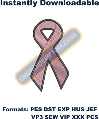 Cancer Ribon embroidery design