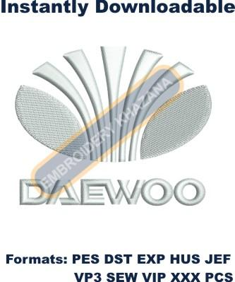 Daewoo CAR Logo embroidery design