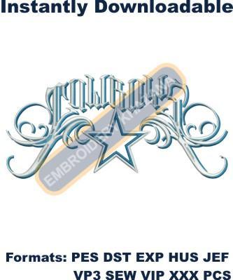 Dallas Cowboys logo embroidery design