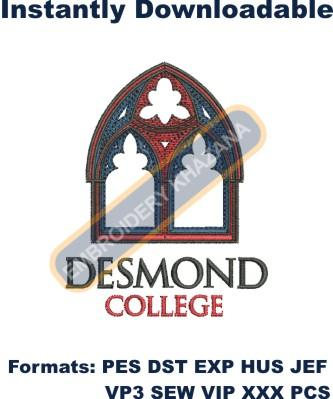 Desmond College crest logo embroidery design
