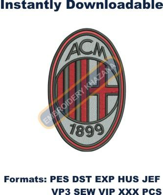 Ac milan fc logo embroidery design