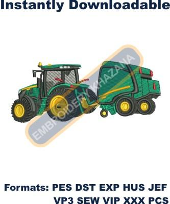 Tractor with Baler embroidery designs