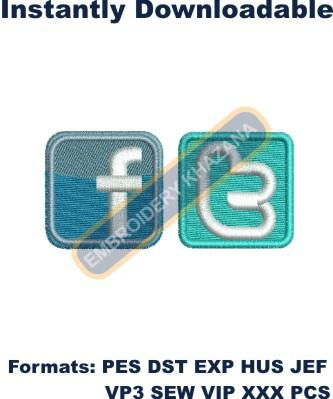 Facebook Twitter Logo embroidery design