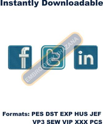 Facebook Twitter Linkedin Logo Embroidery Designs