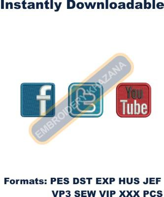 Facebook Twitter Youtube Logo Embroidery Designs