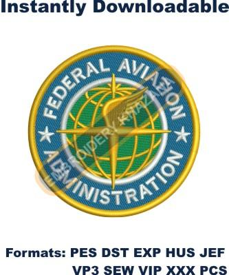FEDERAL AVIATION logo embroidery design