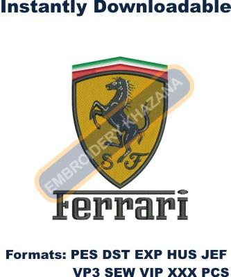 Ferrari car  Logo embroidery design