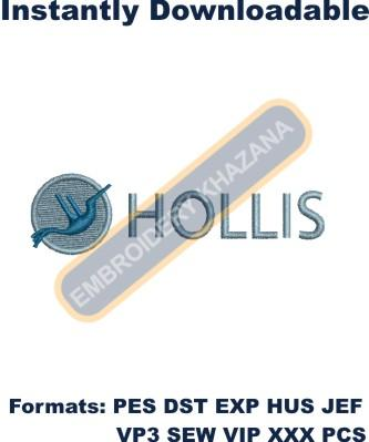 HOLLIS logo embroidery design
