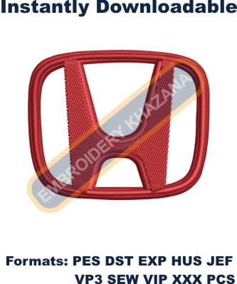 Honda car logo embroidery design