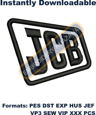 Jcb logo instant embroidery design