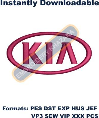 kia motors logo embroidery design
