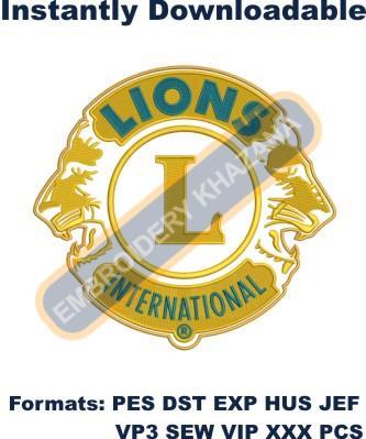 Lions International Club Logo Embroidery Designs