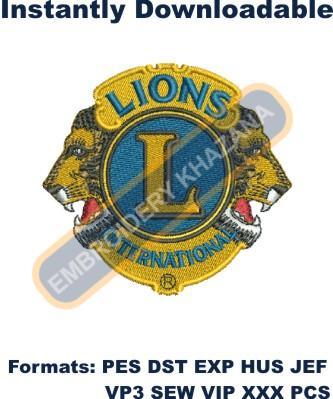 Lions Club International logo embroidery design
