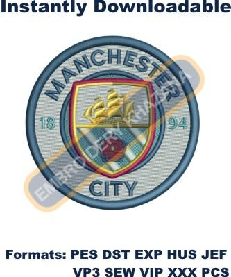 Manchester city football embroidery design