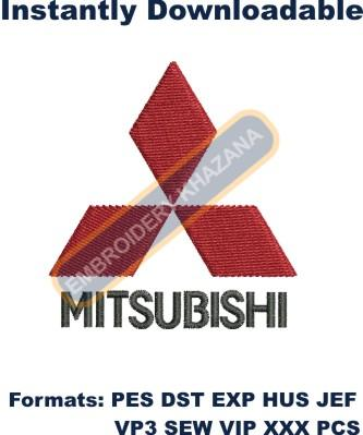 Mitsubishi car Motors Logo embroidery design