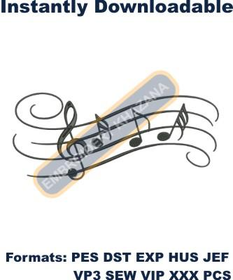 Music symbol embroidery design