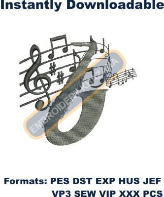 Musical band embroidery design