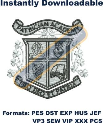 Patrician school crest  embroidery design