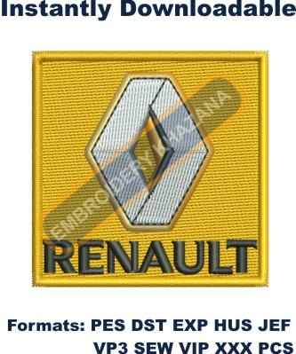 Renault car Logo Embroidery design