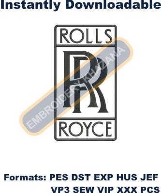 rolls royce car logo embroidery design